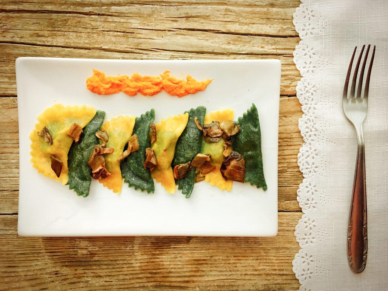 Ravioli di spinaci con ripieno di zucca