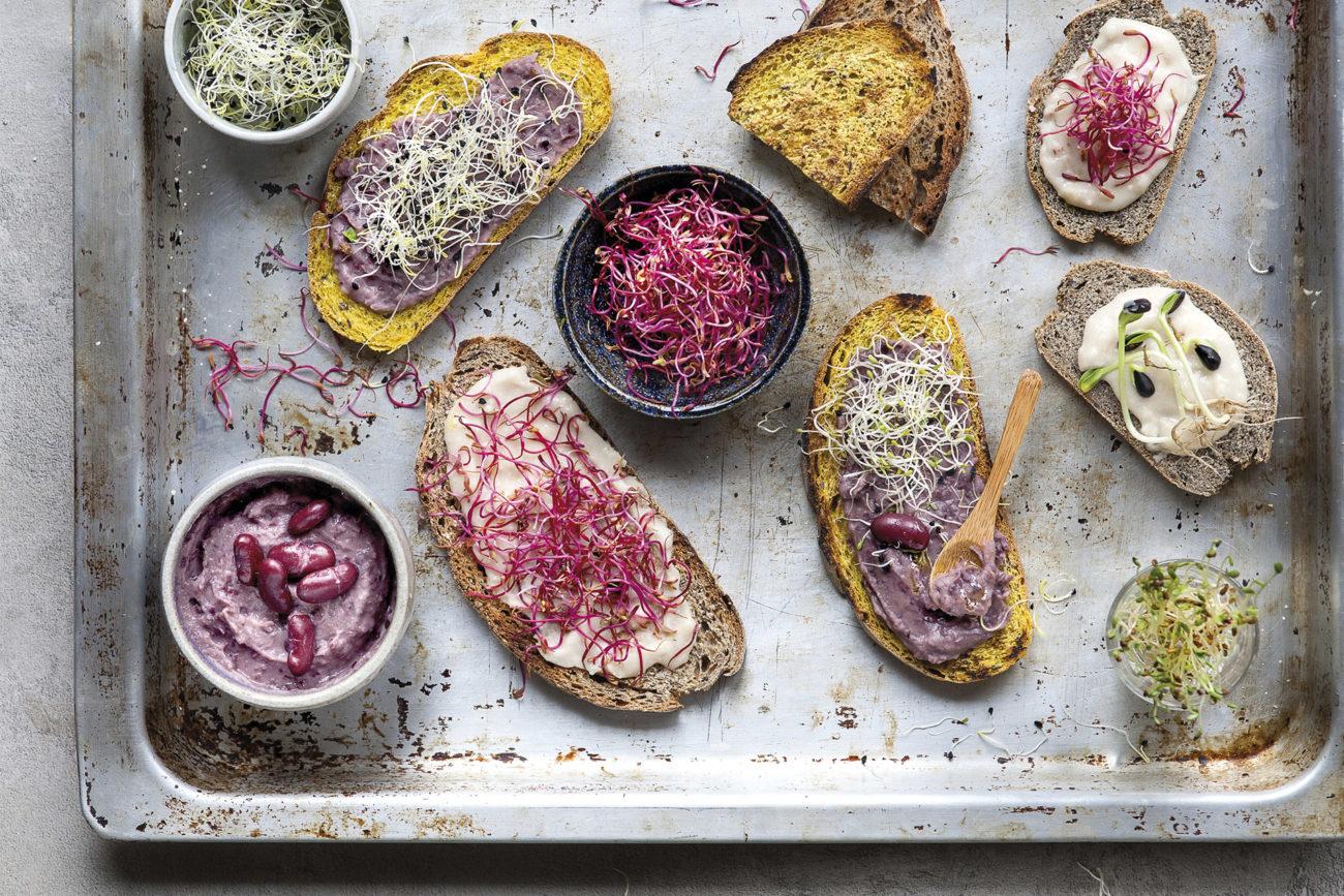 Bruschette con paté di legumi e germogli